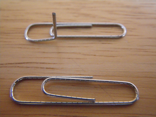 Paperclip safety pin first bend.