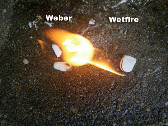 Weber vs Wetfire burning in water