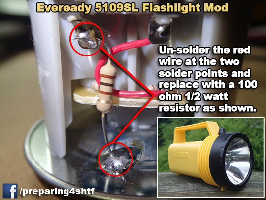 Eveready 1000 hr flashlight mod