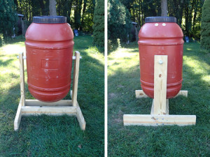 Barrel Composter Front & Side Views