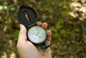 Lost in woods with compass