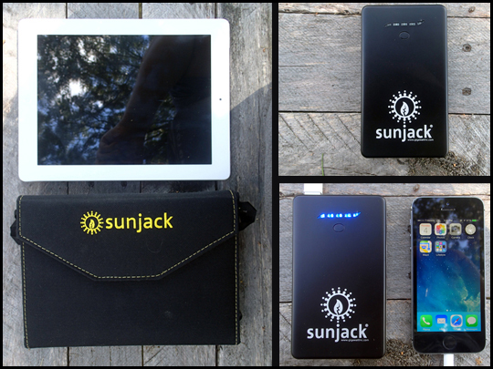 Sunjack Solar charger with iPhone