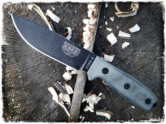 Esee 4 with feather stick