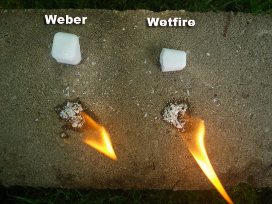 Wetfire vs Weber Lighter Cubes