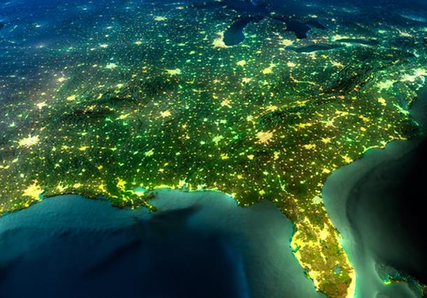 North American Light Map