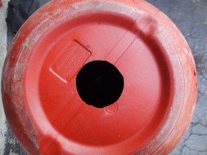 Compost barrel hole cut