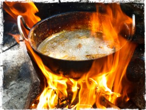 frying pan in camp fire