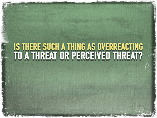 Is There Such a Thing as Overreacting To a Threat or Perceived Threat?