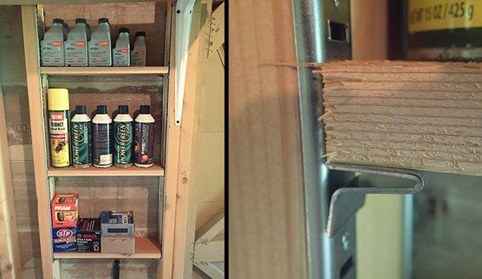 DIY Inexpensive Between-Stud Shelving